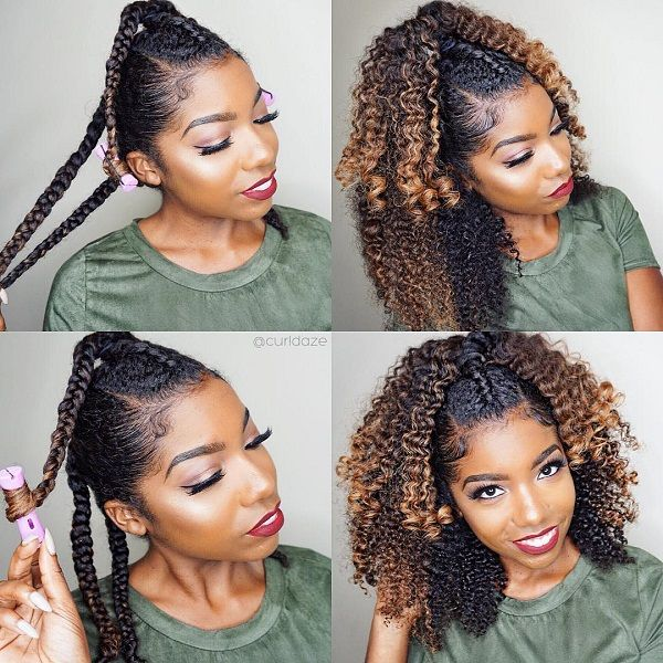 half up half down ombre natural hair for Fall Winter ...