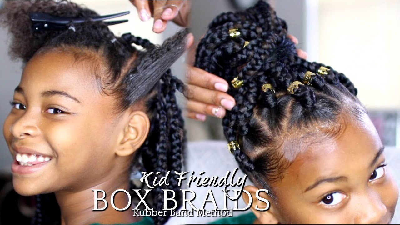 Natural Hair How To Box Braids Rubber Band Method Kids