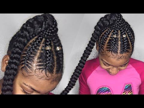 Stitch Braid Ponytail On Natural Hair Everything Natural