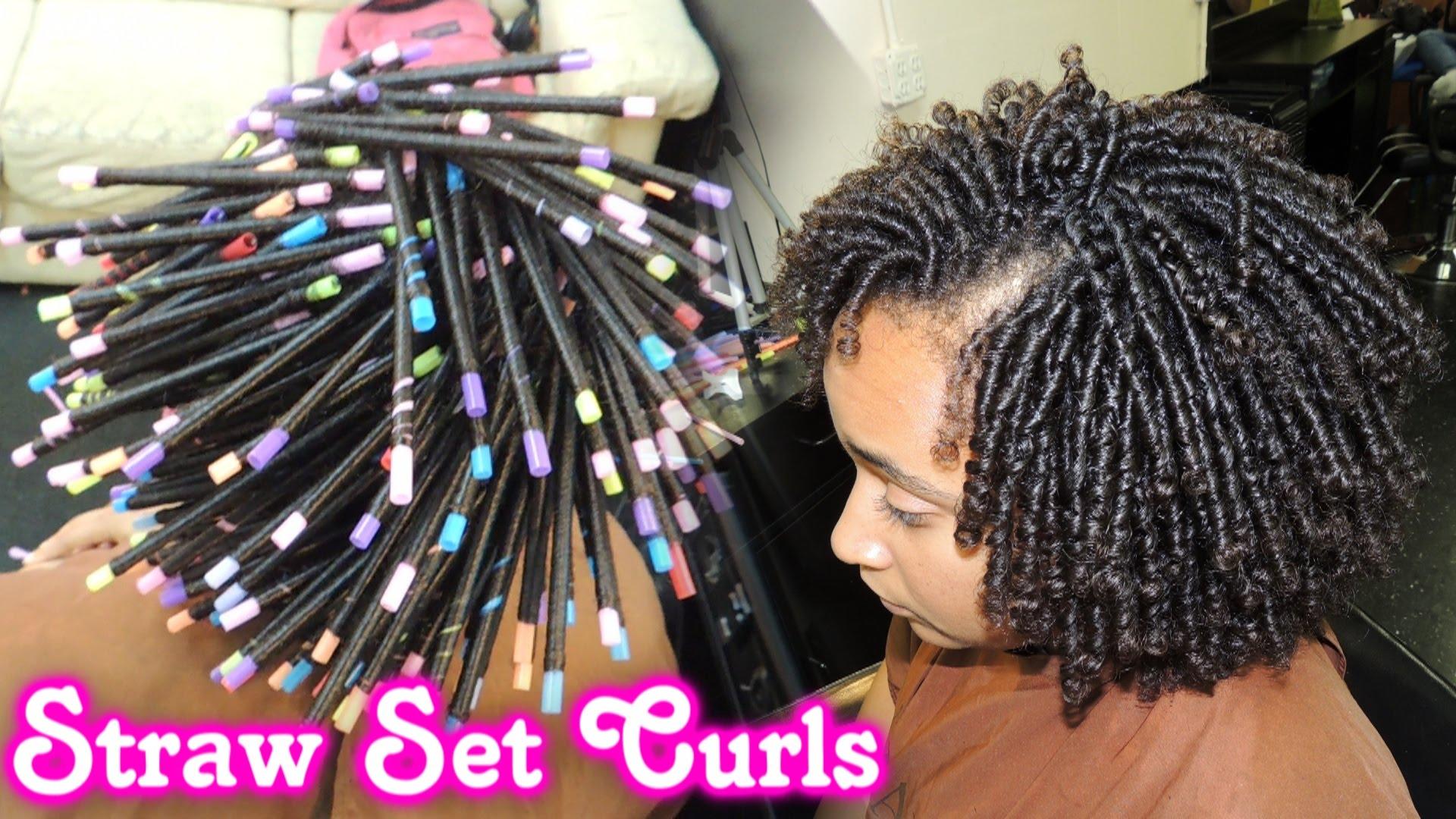 Salon Hair Styles: STRAW SET On NATURAL HAIR Style Demo