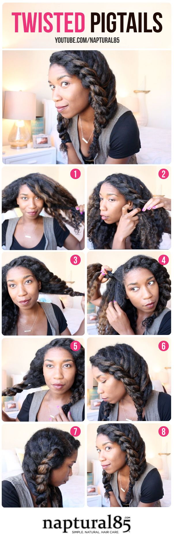 Natural Hairstyles By Naptural85 Twisted Pigtails Easy