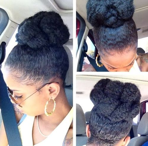High Bun Updo Hairstyle For Black Women Everything Natural