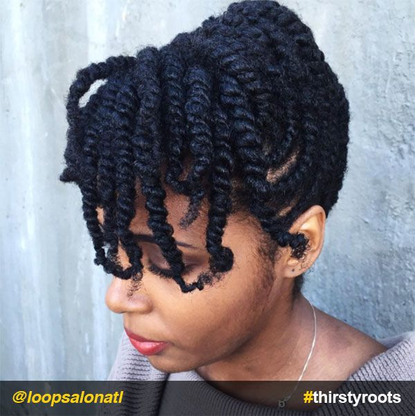 Two Strand Twists Bangs Updo Natural Hairstyle Everything Natural Hair